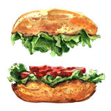 Big hamburger isolated on white background. Big hamburger isolated, watercolor painting on white background Royalty Free Stock Images