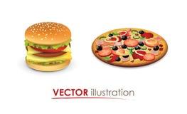 Big hamburger and Italian Pizza Stock Photography