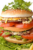 Big hamburger. With lettuce, fast food royalty free stock photography