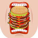 Big hamburger mouth. Strong hunger. Great burger and open mouth. Royalty Free Stock Image