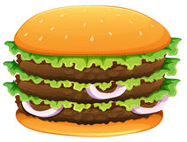 Big hamburger with sesame seeds Stock Photo