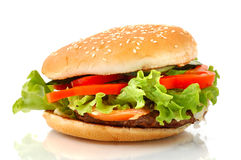 Big Hamburger Side View Isolated Stock Images