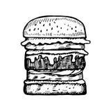 Big hamburger vector sketch. isolated hand drawing. Black Stock Image