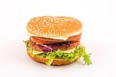 Big hamburger on white Royalty Free Stock Image