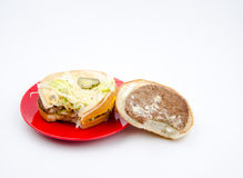 Big hamburger on white background Stock Images