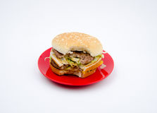 Big hamburger on white background stock photography
