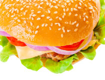 Big hamburger on white background. Big beautiful juicy burger with meat and vegetables. Isolated on white background Royalty Free Stock Image