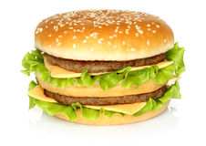 Big hamburger on white background Royalty Free Stock Photography