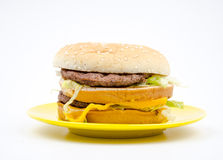 Big hamburger on white background stock photo