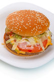 Big hamburger  on a white plate Stock Images