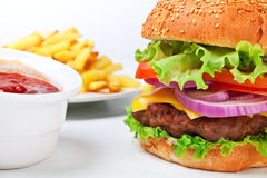 Free Big Hamburger With French Fries Stock Images - 7628124