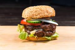 Big Hamburger With Fresh Vegetables Stock Image