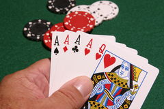 Big Hand. Close up selective focus image of a winning poker hand Royalty Free Stock Image