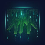 Big hand. Abstract futuristic hand reaching out from binary screen; concept of advancement technology world Stock Photo