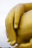 Big hand buddha image. In thai temple Stock Photo