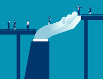 Big hand business support business people for walk across the br. Idge. Concept business illustration. Vector flat Royalty Free Stock Photos