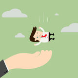A big hand is caching falling businessman. Royalty Free Stock Photography