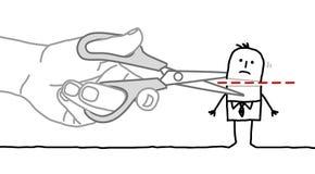Big hand and cartoon businessman - cutting the head Stock Photography