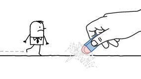 Big hand and cartoon businessman - eraser Royalty Free Stock Image
