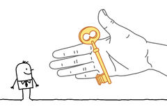 Big hand and cartoon businessman - offering a key Stock Image