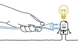 Big hand and cartoon businessman - plug in Royalty Free Stock Image