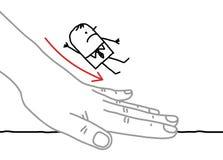 Big hand and cartoon businessman - sliding down Stock Photo