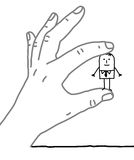 Big hand and cartoon businessman - very small one Stock Photography