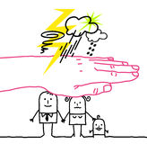 Big hand and cartoon characters - disaster stock photo