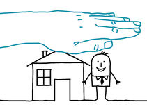 Big hand and cartoon characters - house insurance Royalty Free Stock Photo