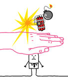 Big hand and cartoon characters - terrorism and protection Royalty Free Stock Photography