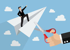 Big hand cutting rival paper rocket. Business concept Royalty Free Stock Photography