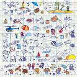 Big Hand Drawn Doodles Vector Set Stock Images