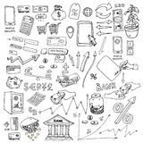 Big hand drawn elements collection for infographic on the subject of money, budget savings, etc.. Infographics elements set of the mobile bank or online store Stock Photo