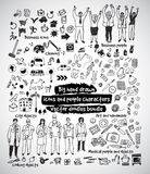 Big hand drawn icons and people doodles bundle. Black and white vector illustration. EPS8 Stock Photo
