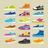 Sneaker sport shoes vector illustration set. Big hand drawn sneaker shoes vector set Royalty Free Stock Photography