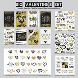 Big hand drawn St. Valentine`s Day set with love doodle sketch lettering Stock Photo