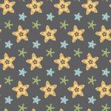 Big hand drawn stars seamless pattern. Big hand drawn stars on grey background seamless pattern royalty free illustration