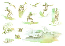 Big hand drawn watercolor set with young surfers, ocean wave, palm branch, gulls and hibiscus flowers. Big hand drawn watercolor set with young surfers, ocean Stock Photography