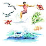 Big hand drawn watercolor set with young surfers, ocean wave, palm branch, gulls and hibiscus flowers. Big hand drawn watercolor set with young surfers, ocean Stock Photos