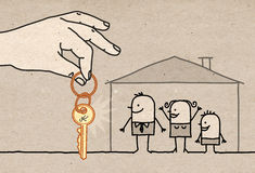 Big Hand - family with new home Stock Image