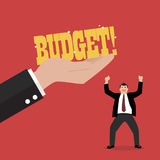 Big hand give a budget to businessman Royalty Free Stock Photo