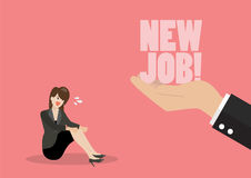 Big hand give a new job to desperate business woman. Business concept Royalty Free Stock Image
