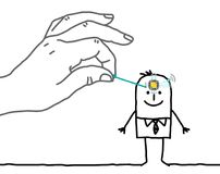 Big Hand Putting a Microchip in a Cartoon Man`s Head stock illustration