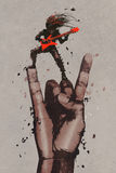 Big hand in rock n roll sign with guitarist. Illustration painting Stock Image