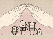 Big hand - roof. Cartoon Big hand - roof on family Stock Photography