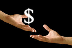 Big hand share the Dollar icon to other hand Royalty Free Stock Photo