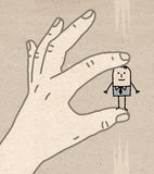 Big Hand - very small one Royalty Free Stock Images