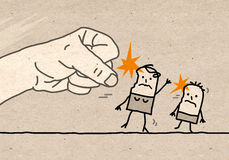 Big hand - violence. Cartoon Big hand - domestic violence Stock Images