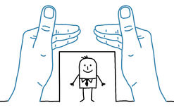 Big hands and cartoon businessman - framing Stock Photography
