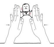 Big hands and cartoon businessman - under pressure Stock Photo